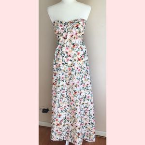 Band Of Gypsies Boho Floral Strapless Maxi Dress